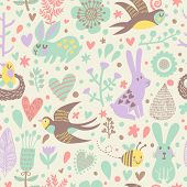 Stylish seamless pattern with cute swallows, rabbits, bee and flowers in vector. Seamless pattern ca