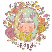 Newborn baby card in bright colors. Stylish shower card with baby boy, flowers, hearts, angel, birds