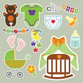 Cute scrapbooking elements for newborn baby