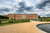 The Privy Garden with pond at Hampton Court Palace near London, UK