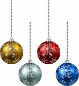 Colorful christmas balls on white surface. Set of isolated realistic decorations. Vector illustratio