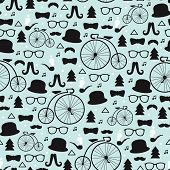 Seamless fun hipster icons mustache bike and christmas tree and snow flake illustration background p