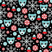 Seamless dark night christmas polar bear and snow flakes illustration background pattern in vector