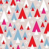 Seamless modern abstract geometric triangle christmas tree and slow flakes background pattern in vec