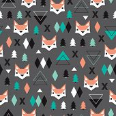 Seamless christmas fox geometric illustration modern trend background pattern in vector