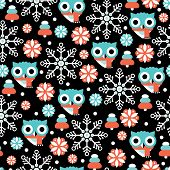 stock photo of snow owl  - Seamless dark night christmas owl and snow flakes illustration background pattern in vector - JPG
