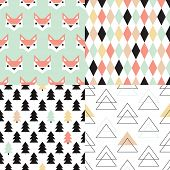 Seamless soft pastel geometric christmas tree triangle and fox illustration background set collectio