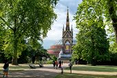 LONDON, UK - AUGUST 04, 2014 - Unknown people near the Albert Memorial in Kensington Gardens, London
