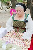 MUSKOGEE, OK - MAY 24: Women show art of lace making, as it was made in the Middle Ages, at the Okla