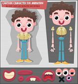 Cartoon character for animation. All body parts are separated and editable