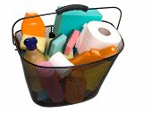 Basket Full Of Plastic Bottles For Cleaning Supplies