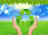 Recycle Sign In Hands Against Green Spring Background.