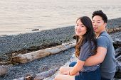 Young Asian American Couple on Beach