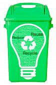 picture of dustbin  - green trash on isolated white background and text Reuse Recycle Reduce clipping path - JPG