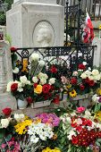 PARIS, FRANCE - NOVEMBER 07, 2012: Tomb of Frederic Chopin, famous Polish composer, at Pere Lachaise