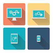 Flat design illustration: computer programming. Cogwheels, gears on screen.