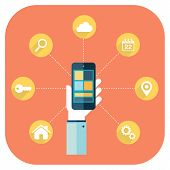 Smartphone apps infographics with a hand holding a phone.
