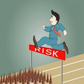 Businessman Jumping Over Hurdle To Risk