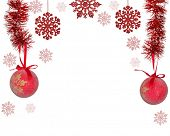 half frame from red christmas tree decorations isolated on white background