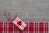Present Red Checkered For Valentine, Christmas, Birthday Or Mother's Day