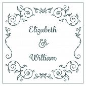 Letterpress wedding invitation card template with floral ornaments and custom ampersand. Vector illu
