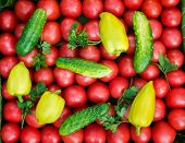 Mature Tomatoes Of Bright Red Color Of The Small Size, Pepper And Cucumbers.