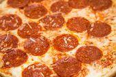 Hot Greasy Cheesy Pepperoni Pizza Closeup