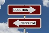 image of solution problem  - Solution versus Problem Red and white street signs with words Solution and Problem with sky background - JPG