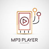 Vector mp3 player company logo design, business symbol concept, minimal line style