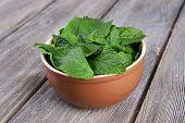 Brown round bowl of fresh mint leaves on wooden background