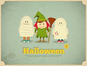 pic of happy halloween  - Happy Halloween Retro Card with Witch Mummy and Ghost - JPG