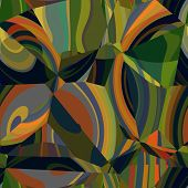 art abstract colorful chaotic waves seamless pattern background with green, olive, orange, grey, bla