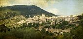 Vintage photo of Valldemossa village, Mallorca, Balearic island, Spain. This is the place where Geor