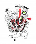 Many Tools in shopping cart, isolated on white background