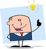 Businessman With A Bright Idea Cartoon Character On Background