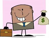 Winking African American Businessman Holding A Money Bag Character On Background