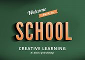 Back to School vector design typography poster template vintage style. Sale Banner retro.