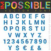 ABC Font impossible letters 3d vector design.  Alphabet good for logo, typography, titles.