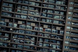 stock photo of overpopulation  - a densely populated block of flats in London UK - JPG