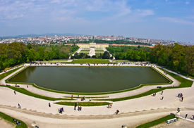 stock photo of schoenbrunn  - Super wide angle cityscape view of Vienna from Gloriette at Schoenbrunn palace - JPG