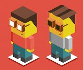 young boys. 3d flat isometric vector