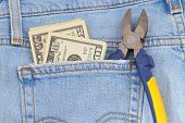 Money and tool in pocket