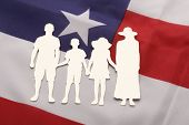 Family Paper Cut-out On Us Flag