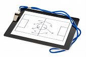 Whistle And Soccer Tactic Diagram On Digital Tablet