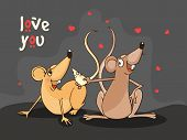 Cute male rat offering cheese to his beloved on red hearts decorated background for Happy Valentines Day celebration.