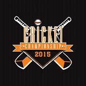 Cricket Championship 2015 sticker or label design with bats and ball on black background.