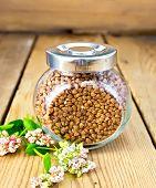 foto of buckwheat  - Buckwheat in a glass jar - JPG