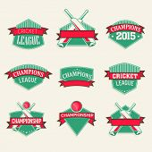Green sticker, tag or label design with red ribbon for Cricket sports concept.