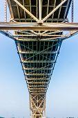 Intricate Geometric Patterns of Steel and Iron Works of a Coastal Bridge in Corpus Christi, Texas.