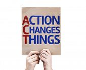 Action Changes Things card isolated on white background